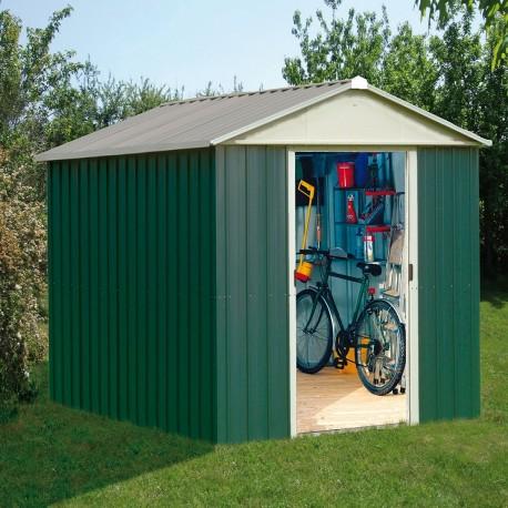 abri de jardin metal vert 12m kit d ancrage inclus yardmaster