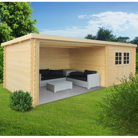 abri de jardin rohan 19 82m en bois massif 28mm avec terrasse couverte solid