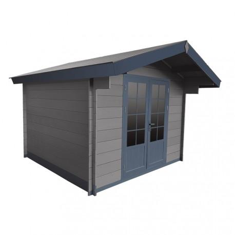 abri de jardin en bois composite 28mm gris fonce 9m double porte alu et double vitrage woodlife garden