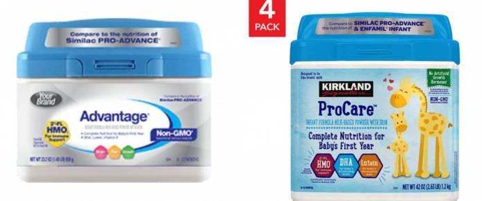 Perrigo infant formula and Kirkland Signature infant formula