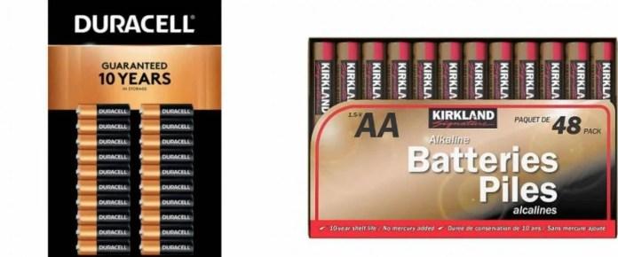 Duracell batteries and Kirkland Signature batteries