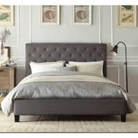 Chester Queen Bed Frame in Grey Fabric Linen | Buy Best ...