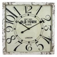 Large Square Industrial Old Town Clocks Wall Clock