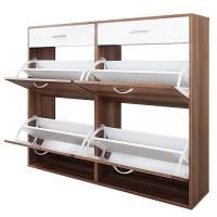 Large 6 Drawer Shoe Storage Cabinet Walnut & White   Buy ...