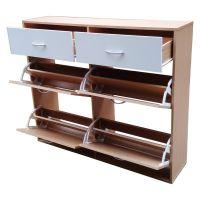 Large 6 Drawer Shoe Storage Cabinet in Oak & White   Buy ...