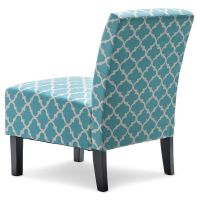 Fabric Armchair in Teal and White Patterned Print   Buy ...