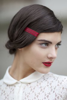 paris, fashion week, vintage, red lipstick, minimal makeup,
