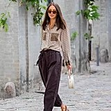 Fall Outfit Idea: Printed Shirt + Cropped Pants + Slingbacks