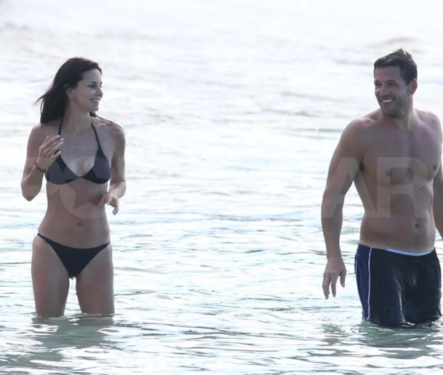 Courteney Cox Showed Off Her Tan In A Tiny Black Bikini On The Beach In St