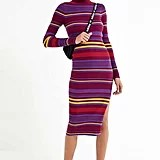 UO Stella Striped Turtleneck Sweater Dress