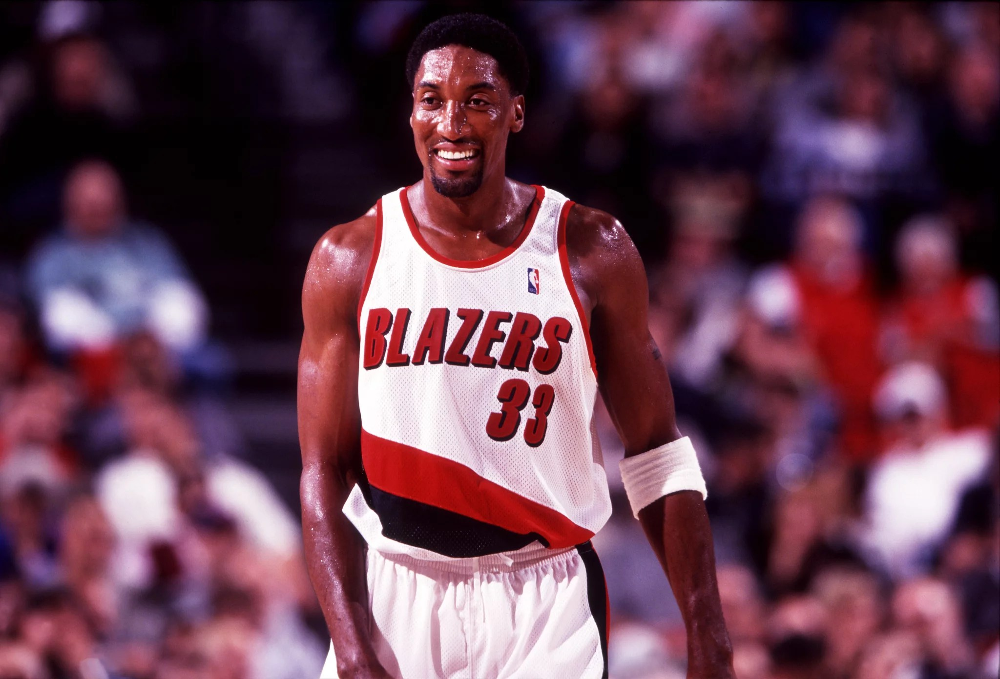 1999:  Forward Scottie Pippen of the Portland Trailblazers during a Blazers game at the Rose Garden in Portland, OR. (Photo by Icon Sportswire)