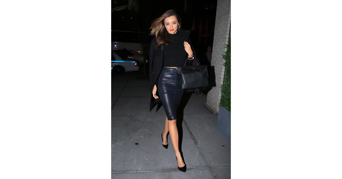 Need Another Reminder That Black Leather Isn't All Tough?  Miranda Kerr Street Style  Popsugar