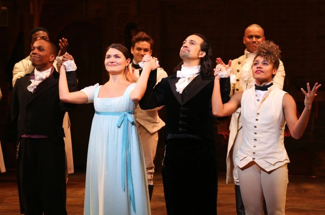 NEW YORK, NY - JULY 09:  Leslie Odom Jr., Phillipa Soo and Ariana DeBose with Lin-Manuel Miranda during their final performance curtain call of 'Hamilton' on Broadway at Richard Rodgers Theatre on July 9, 2016 in New York City.  (Photo by Walter McBride/WireImage)