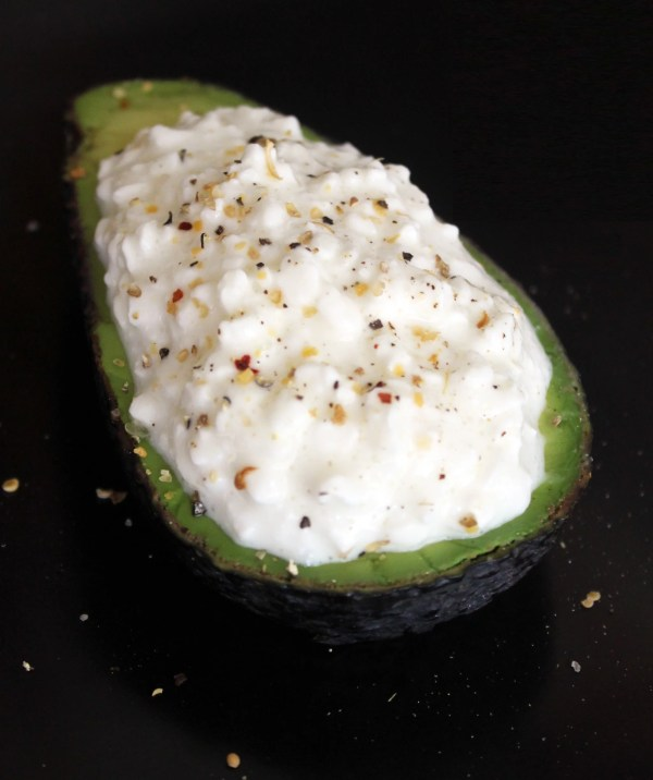 Avocado and Cottage Cheese Snack POPSUGAR Fitness
