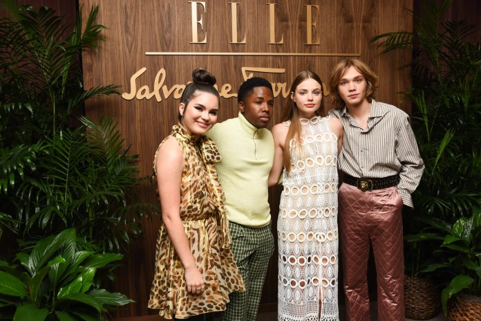 LOS ANGELES, CALIFORNIA - OCTOBER 11: Landry Bender, Denny Love, Kristine Froseth and Charlie Plummer attend ELLE x Ferragamo Hollywood Rising Party at Sunset Tower on October 11, 2019 in Los Angeles, California. (Photo by Presley Ann/FilmMagic)