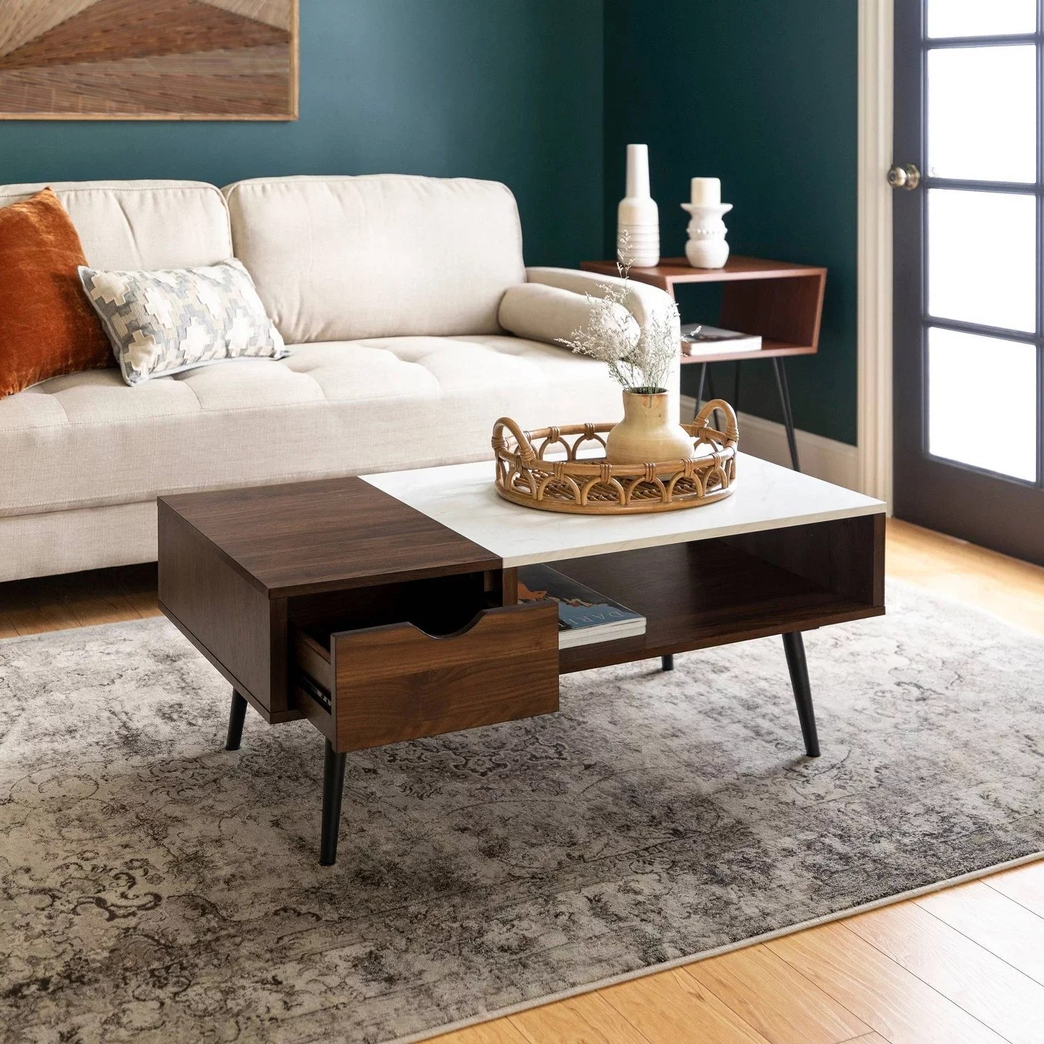 wood and faux marble coffee table 85