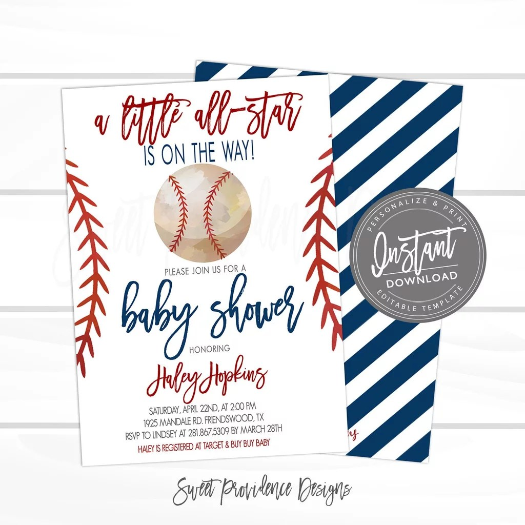 baseball baby shower invitation