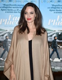 Angelina Jolie Wearing a Shawl at Faces Places Premiere ...