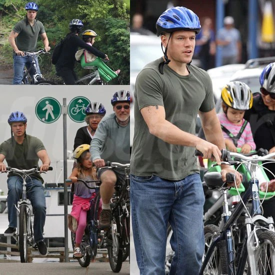 Matt Damon Bike Riding With His Family Pictures  POPSUGAR