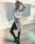 Sweater Dresses with Black Tights and Booties