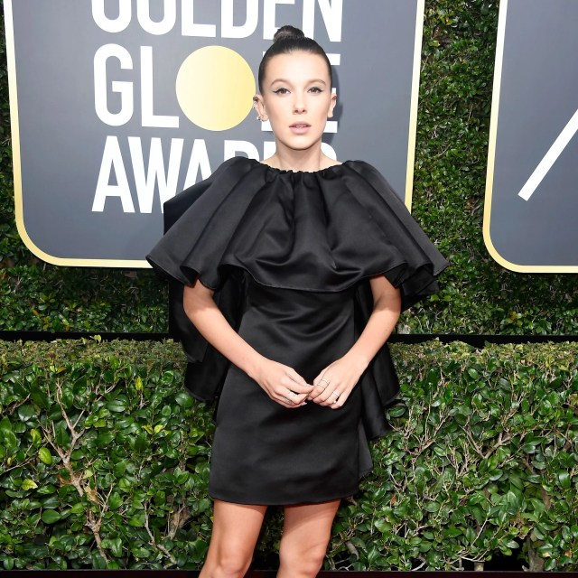 Image result for Millie Bobby Brown's Golden Globes look