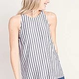 Sleeveless High-Neck Striped Top
