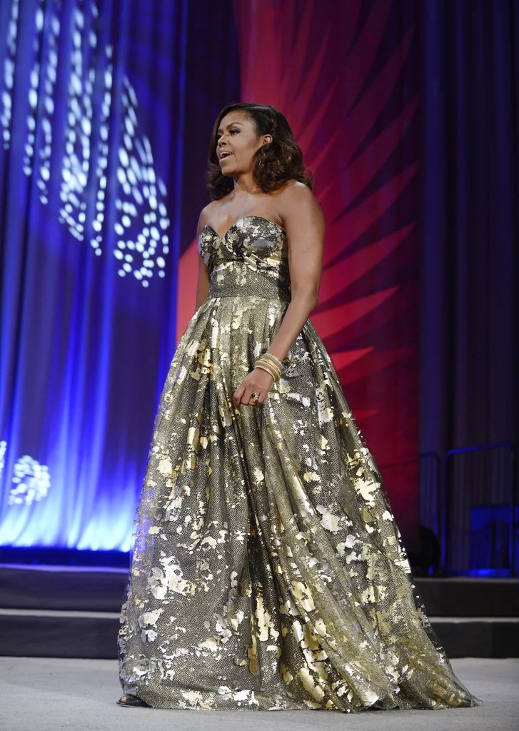 Michelle Obama Gold Dress at Phoenix Awards Dinner 2016