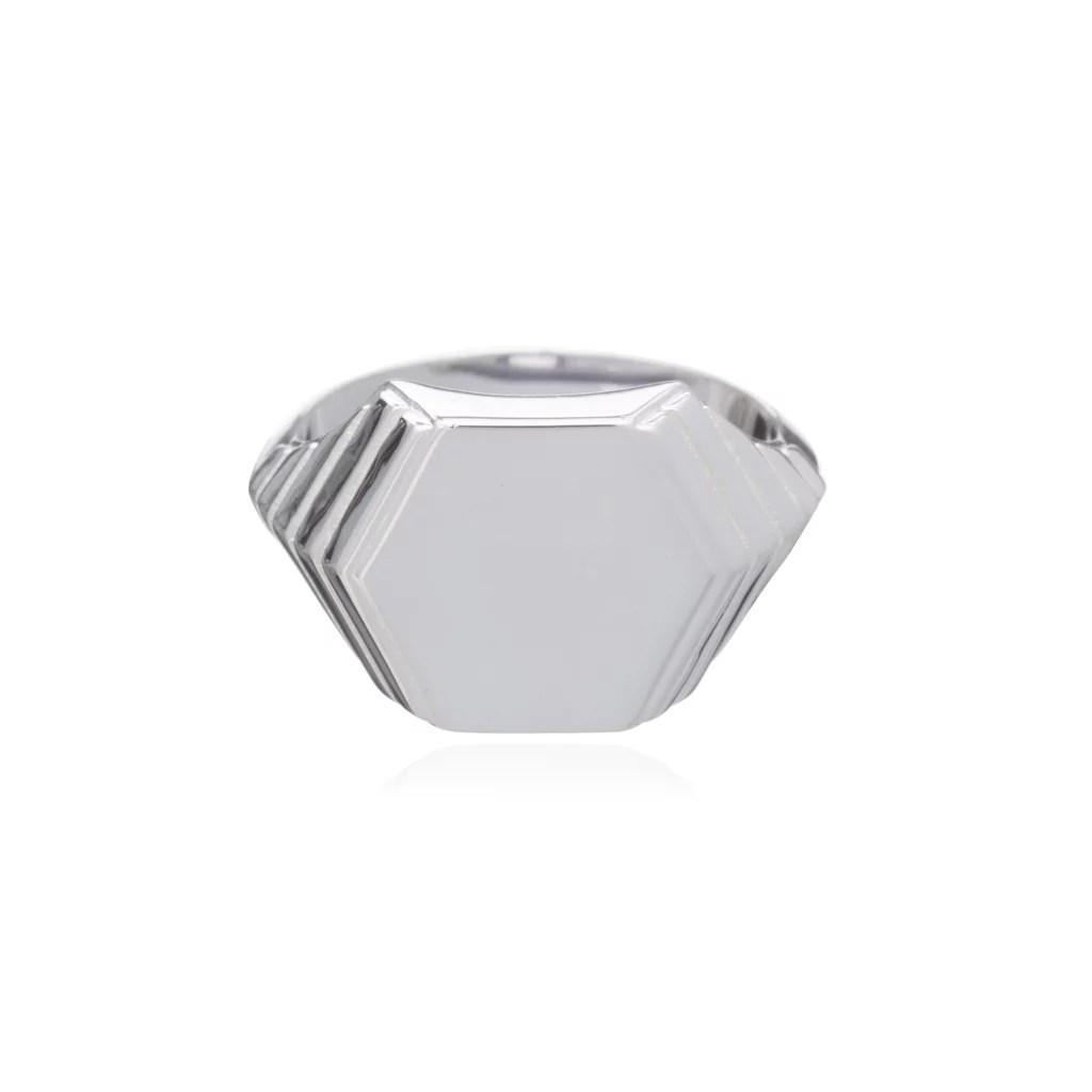 Rachel Jackson London Art Deco Hexagon Signet Ring