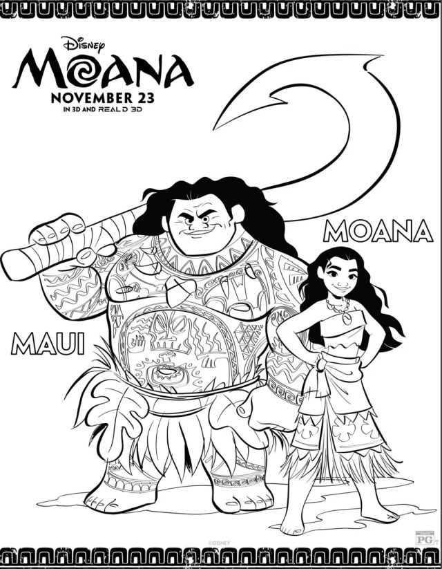 Moana and Maui Printable Coloring Sheet  Bring a Little Bit of