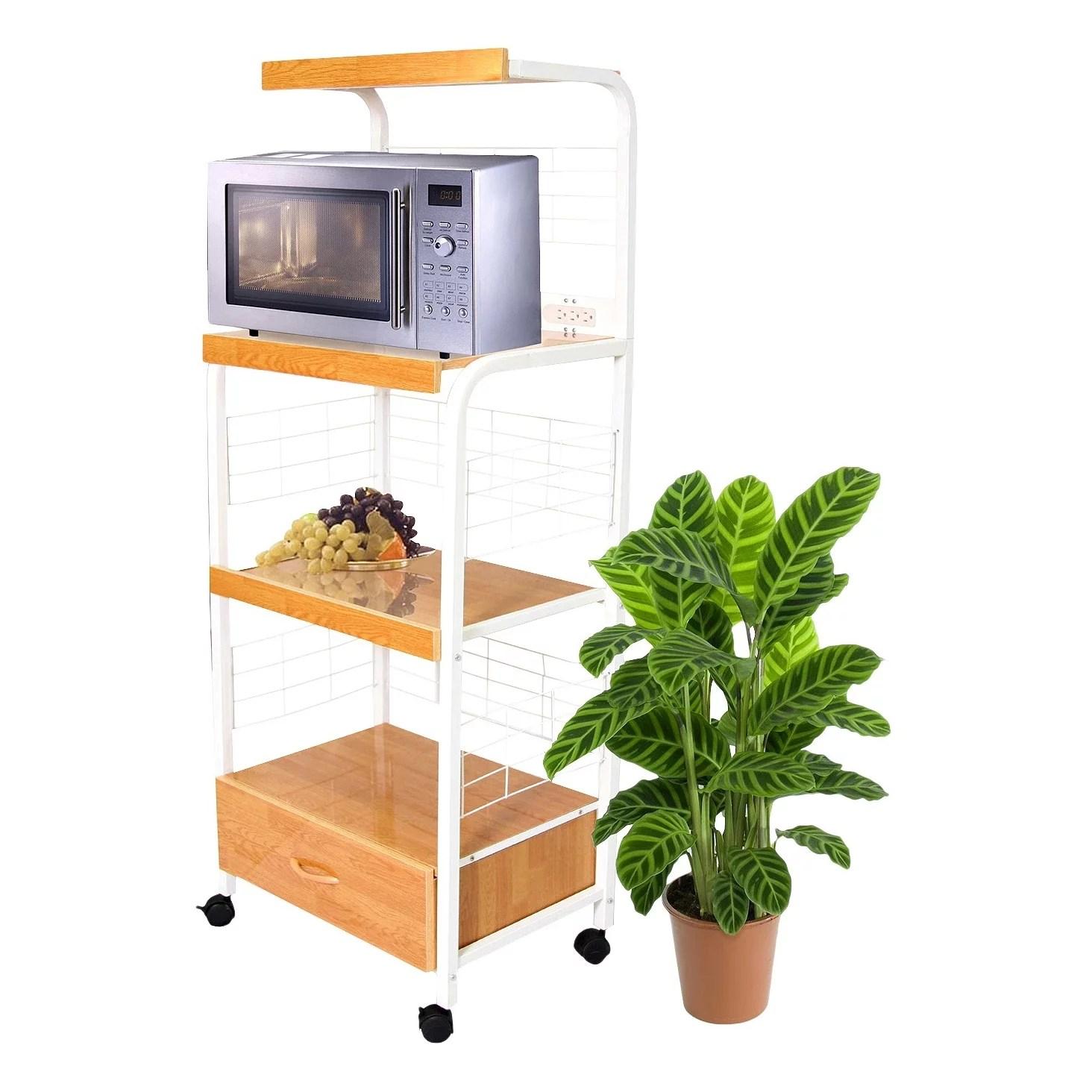 metal microwave cart in white 50
