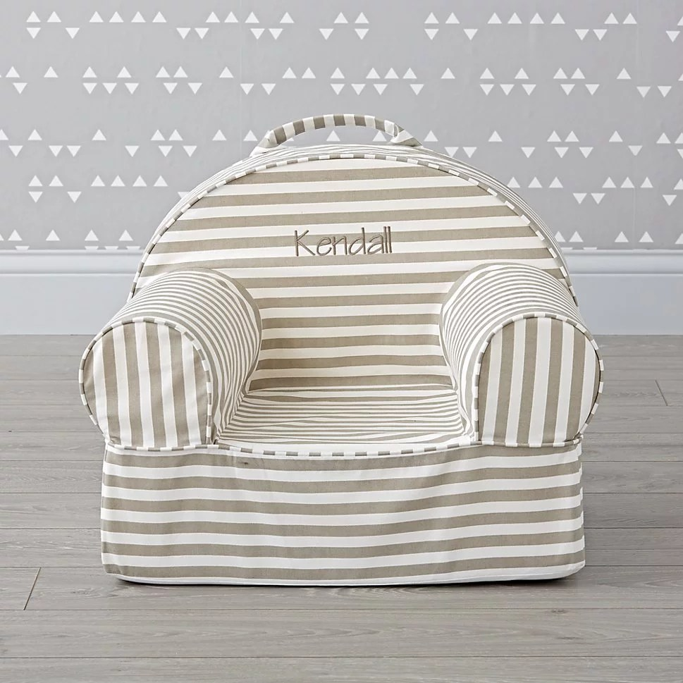 Monogrammed Toddler Chair For 1 Year Olds Small Personalized Gray Stripe Nod Chair Best