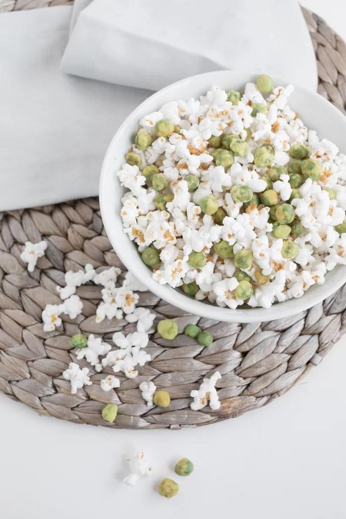 Brown Sugar Popcorn With Wasabi Green Peas