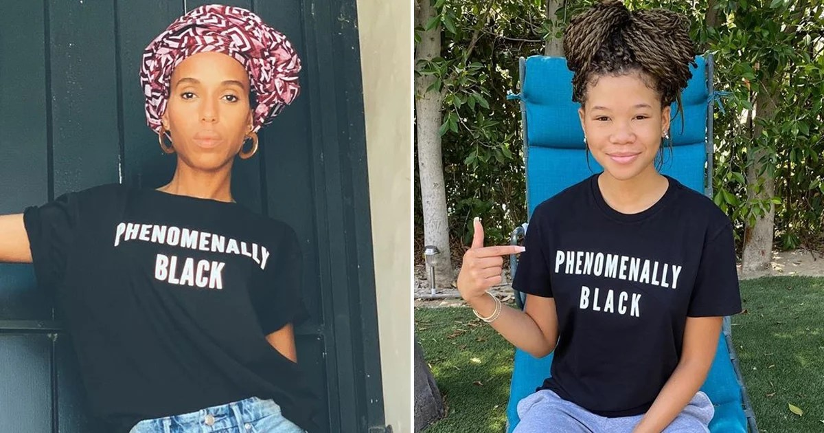 "Photo of Kerry Washington, Storm Reid, and More Rock ""Phenomenally Black"" Tee For a Powerful Cause"
