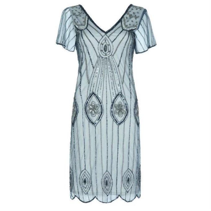 Gatsbylady London Art Deco Flare Sleeves Embellished ...