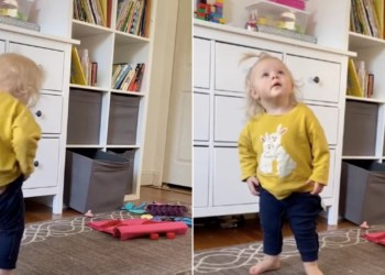 This Toddler Struggling to Put Pants On Is All of Us While Social Distancing