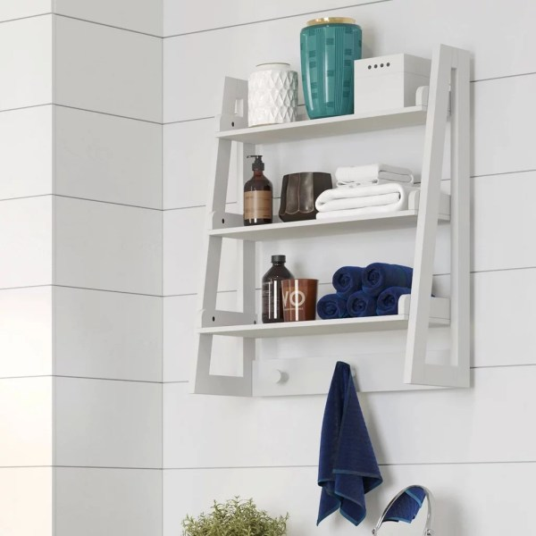 Wall-mounted Ladder Shelf With Towel Hooks Target