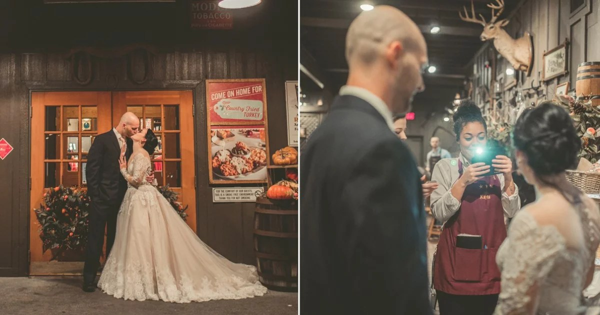 Couples Engagement and Wedding Photos at Cracker Barrel