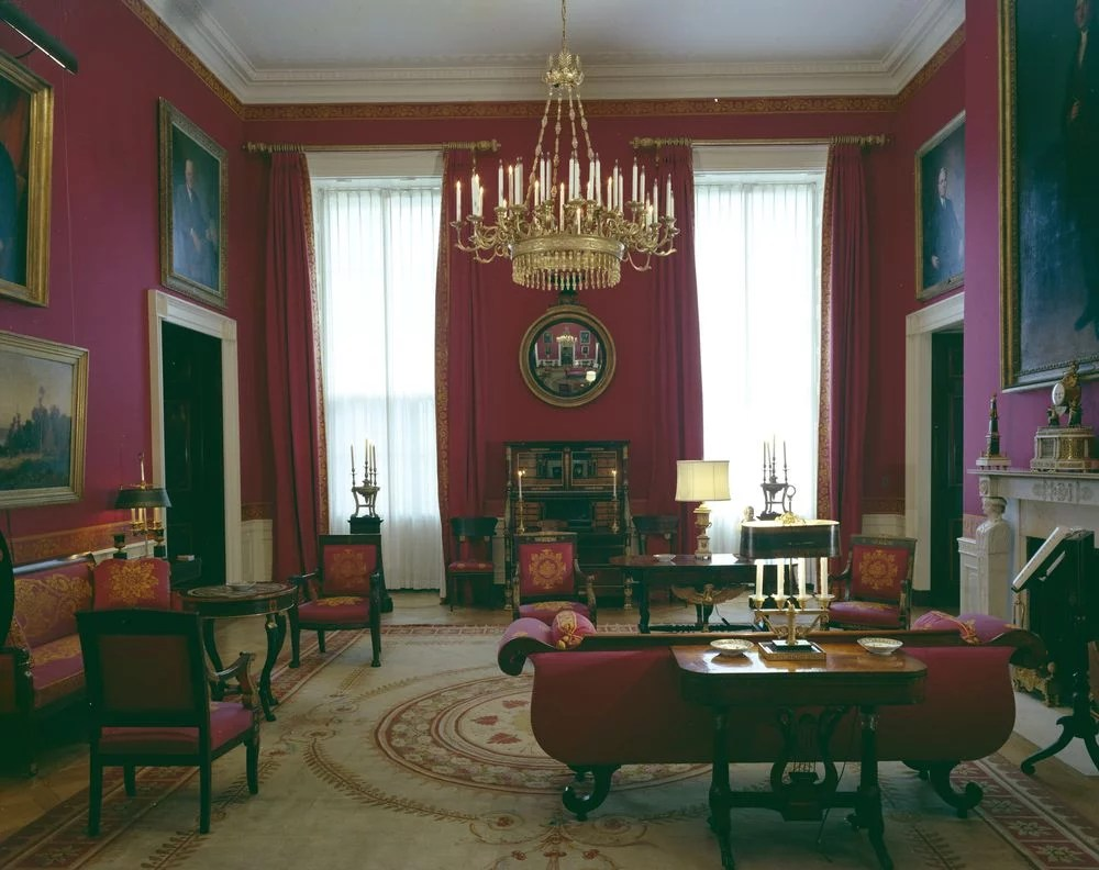 The Red Room  Jackie Kennedy White House Restoration