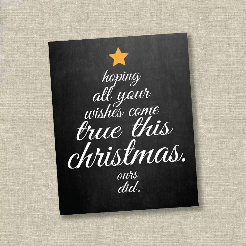 Chalkboard Christmas Tree Pregnancy Announcement Card