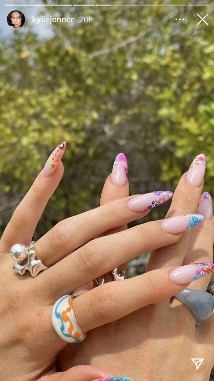 See Kylie Jenner's Dotted Neon French Twist Manicure