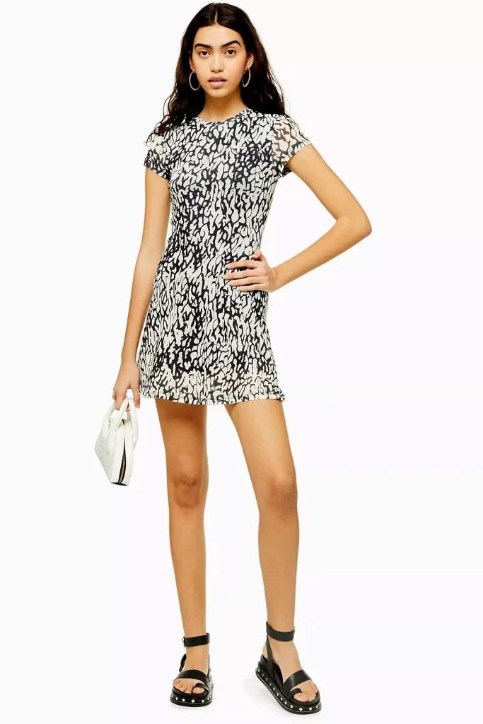 Topshop Animal Print Mesh Tea Dress | Best Dresses Under $50 | POPSUGAR Fashion Photo 49