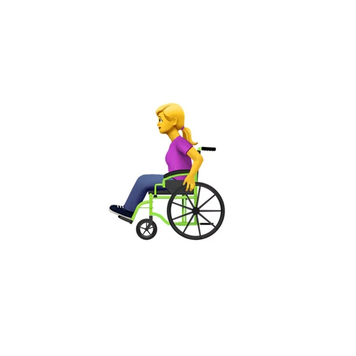 wheelchair emoji wooden desk chair with wheels person in manual female apple disability themed