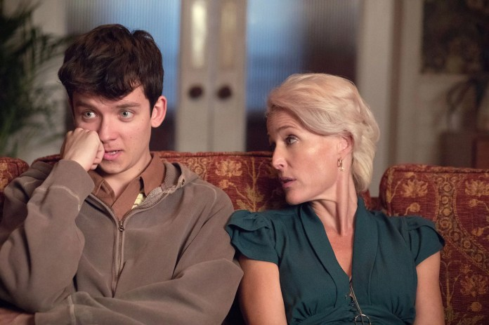 SEX EDUCATION, from left: Asa Butterfield, Gillian Anderson, (Season 1, ep. 101, airs Jan. 11, 2019). photo: Sam Taylor / Netflix  / Courtesy: Everett Collection