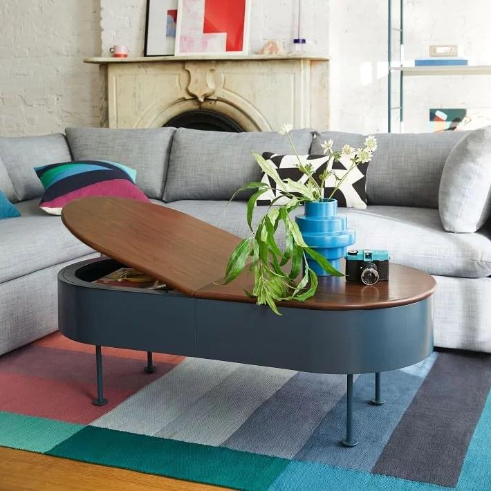 petrol blue ruby storage coffee table