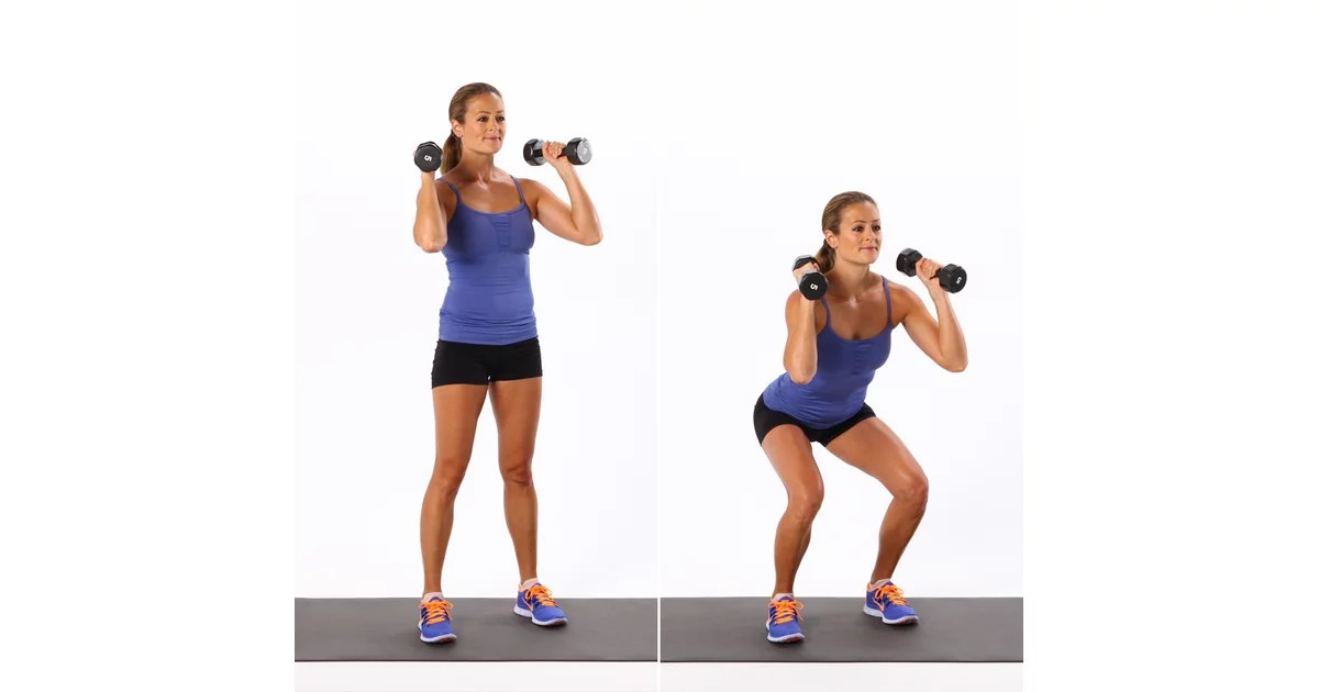 chair stand exercise legs home depot dumbbell squat | quick workout popsugar fitness photo 1