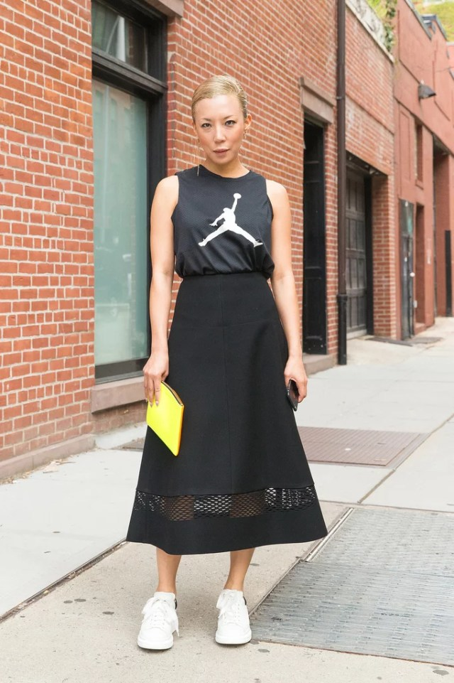 A Jersey-Like Cutoff, a Triangle Midi Skirt, and White Sneakers