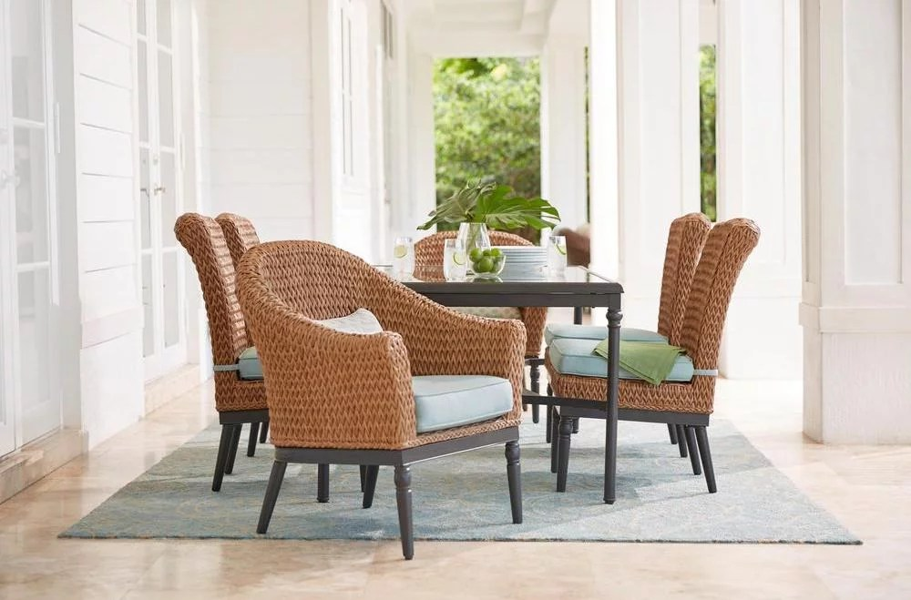 best outdoor dining chairs mid century chair and ottoman camden light brown 7 piece wicker set patio