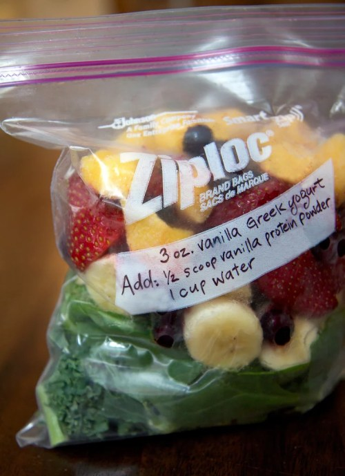 Meal Prep Ideas Make Ahead Smoothie Packs Ziploc Bag Sharpie Protein Shake Fruit Vegetable Veggies Freezer On The Go