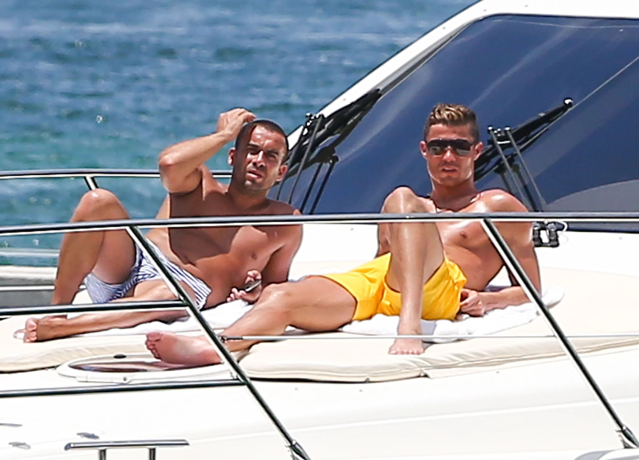 Soccer Player Cristiano Ronaldo Relaxed On A Yacht With A Pal In Rafael Nadal Serena Williams And More Sports Stars Hit The Beach Popsugar Celebrity Photo 8