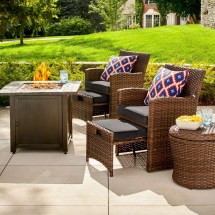 Halsted Wicker Patio Fire Chat Set Target Outdoor